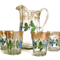 Vintage 50's Hand Painted and Gold Glass Pitcher with 4 Matching Glasses