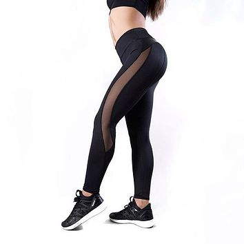 Womens High Waist Black Slim Fit Yoga Leggings with Vegan Leather Details