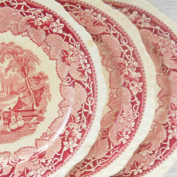 Antique Mason's Vista China Chippy Plates, Set of 3,Shabby Chic, Red Transferware, Mosaics, Craft Supplies, Dinner Plates, Chipped China