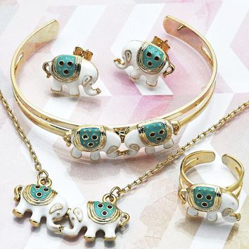 Gold Layered Girls Elephant Earring and Pendant Children Set, by Folks Jewelry