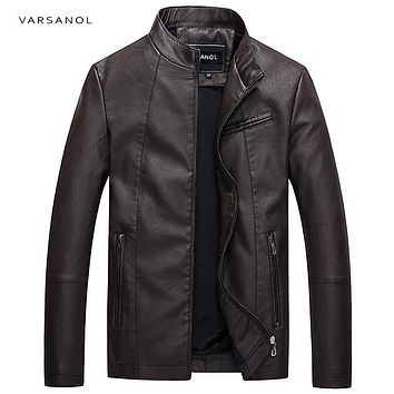 NEW - Men's Leather Style Jacket - Long Sleeve Bomber - VARNASOL