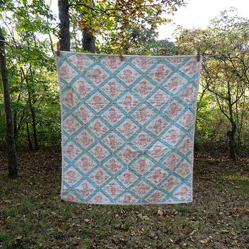 1930s Vintage Hand Made Baby Quilt, Whole Cloth Tied Quilt with Cute Kids, 35.5 x 37.5 Inches, Good Condition, Vintage Baby Quilt, Linens