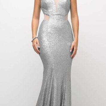 Long Sequin Sheath Dress Silver Sheer Side Cut Out Form Fitting
