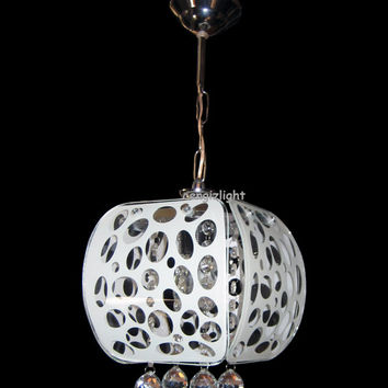 Hand Painted Silk Screen Glass & Crystal Chandelier Pendant Contemporary Lights