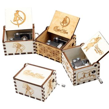 Sailor Moon Wood Music Box  Zelda Star Wars Game Of Thrones Castle In The Sky Beauty And Beast Theme Christmas Gift