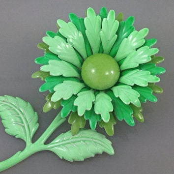 Large Groovy Vintage Enamel Metal SeaFoam Green Flower Brooch, enamel flower Brooches, greens, 3d