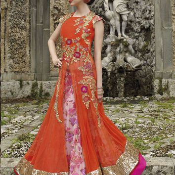 Orange Net Unstitched Gown - GOWNS - Women