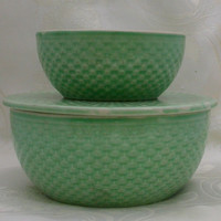 Vintage W S George Green Basketweave Pottery by VersatileVintage