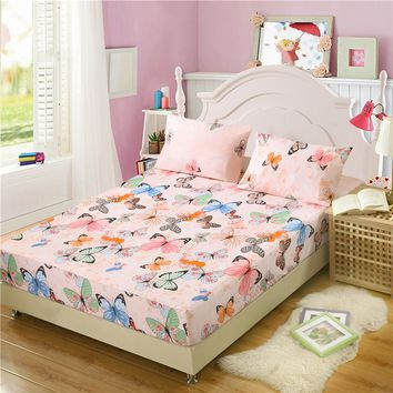 100% Polyester Printed Fitted bed sheet sheets with elastic band double mattress protector