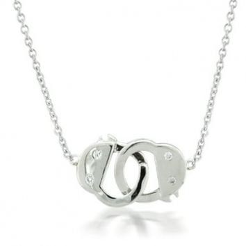 Bling Jewelry Obsession Handcuff Necklace CZ 925 Sterling Silver Secret Shades