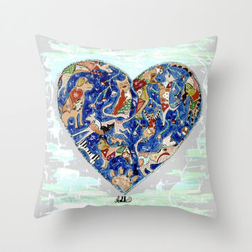 FURRY LOVE Throw Pillow by Adka