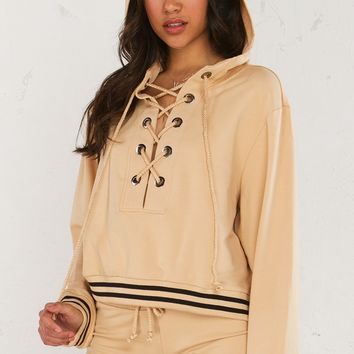 Lace Up Hoodie in Antelope