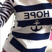 Anchor Graphic Print Striped Knitted Pullover