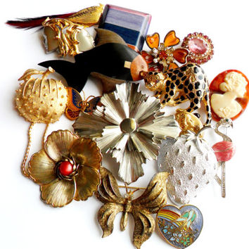 Vintage Brooch Lot - Instant Collection - Bouquet Supplies - Wear Resell Repurpose Upcycle - Napier Parklane Czechoslovakia - Figural Style