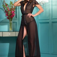 Gown-One piece black sheer dress