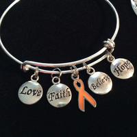 Orange Awareness Ribbon Love Faith Believe Hope Bracelet Expandable Adjustable Silver Wire Bangle Trendy Gift (Other Awareness Ribbons Available)