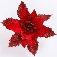 1pc Flannel Artificial flowers Fake Flowers Christmas Tree Pendant Ornament Festival Supplies Home Party Scrapbooking Decoration