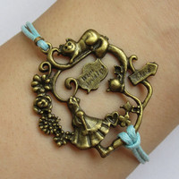 Alice in Wonderland Bracelet- Antique  Brass Alice, Cat, Teapot and Wonderful Branch and Flowers with Wax Cords Bracelet-A001