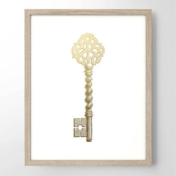 Skeleton Key Faux Gold Foil Art Print - Antique Vintage Engraving - Kitchen Decor - Wedding Gift - Wedding Decor - Home decor - Office Decor