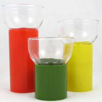 FINAL CLEARANCE Candle Columns - Vintage Mod Tri-Color Candleholder Set: Orange, Yellow, Green Graduated Cylinder Glass Votive Holders