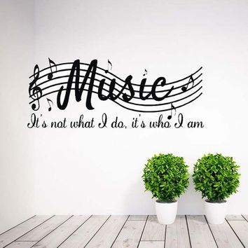 Removable Music Is Not Musical Notes Room Decor Art Vinyl DIY Wall Decal Sticker 71 x25cm