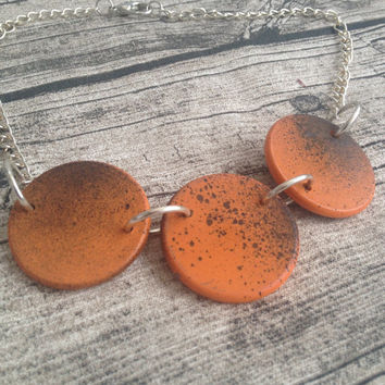 Painted wooden Necklace, Wooden necklace, Orange necklace, Wooden necklace, Handmade necklace,