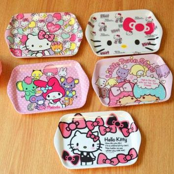 Xingkings Dinnerware Cute Hello kitty Melamine Plate Dish Fruit Snack Tray Tableware KX-K5122