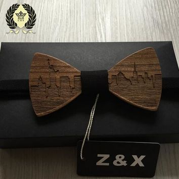 *Formal Commercial Wooden Bow Tie Male Solid Color Marriage Bow Ties For Men Butterfly Cravat Wood Bow Tie