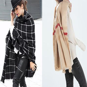 Cashmere Blanket Scarf for Women warm shawls and scarves and stoles female knitted pashmina designer brand Tartan Plaid Scarf