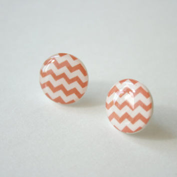Zig-Zag Patterned Post Earrings in Coral