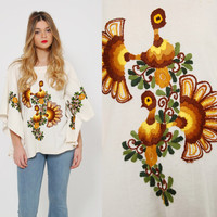 Vintage 70s EMBROIDERED Mexican Top BIRD Print Cotton Tunic ETHNIC Hippie Top Boho Poncho Butterfly Top