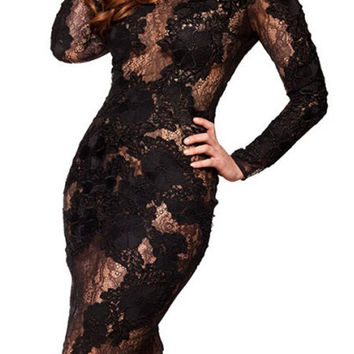 Round Collar Long Sleeve Solid Color Lace Dress