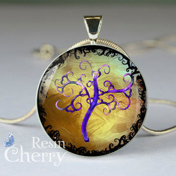 tree necklace pendant,tree photo pendant,tree pendant charm,tree resin pendants- D0813CP