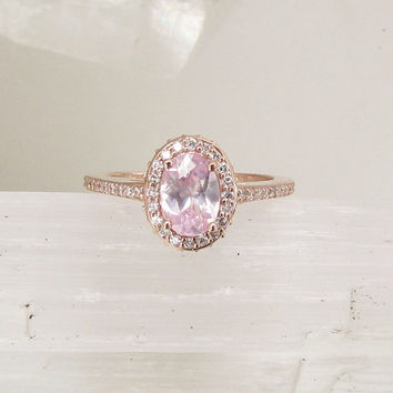 Champagne Pink Sapphire 14k Rose Gold Engagement Ring Diamond Halo Weddings Anniversary