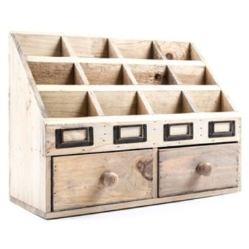 12-Slot Natural Wood Organizer with 2 Drawers | Shop Hobby Lobby