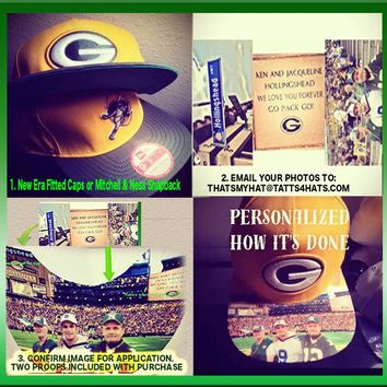 """Personalized New Era Fitted Cap or Mitchell & Ness Snapback Hat """"Design Your Own Bill"""" NFL Pro Sports"""