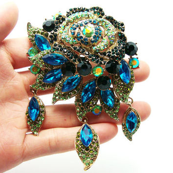 Fashion Vintage Style Art Deco Flower Rose Brooch Pin Pendant Green Cyan Rhinestone Crystal