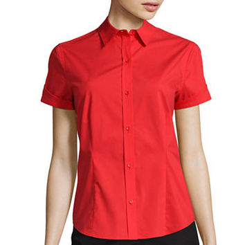 Liz Claiborne® Short-Sleeve Button-Front Shirt