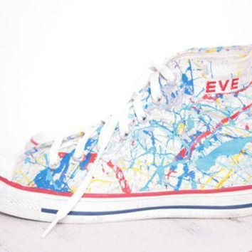CREYONB Custom Made Splatter Painted Vintage 'EVE' HighTop Converse Sneakers Size 5 1/2