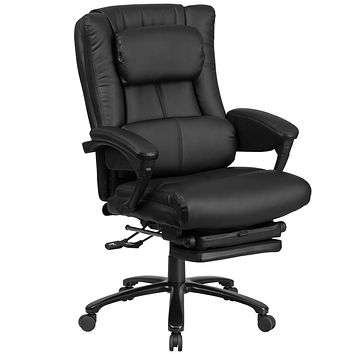 High Back Leather Executive Reclining Swivel Office Chair with Lumbar Support, Comfort Coil Seat Springs and Padded Armrests