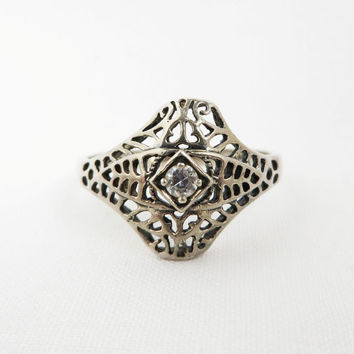 Vintage Avon Sterling Silver Filigree Ring with CZ, Size 10, Christmas Gift For Her