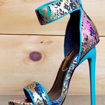 """Kyte Teal Gold Abstract Print Closed Back Sandal Shoe 5"""" Heel Size 6"""