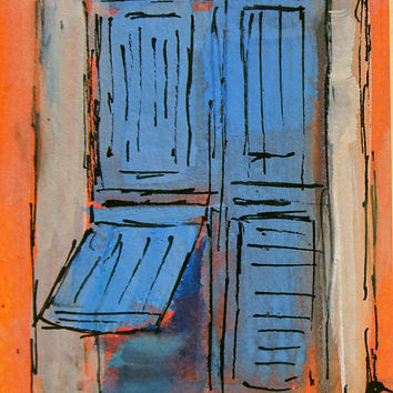 Original ACEO - Miniature art trading card, 2.5 by 3.5 in - L00013 Blue Shutters Provence gouache, landscape painting, SFA, by Marion Hedger