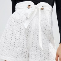 PrettyLittleThing Broderie Tie Waist Shorts at asos.com