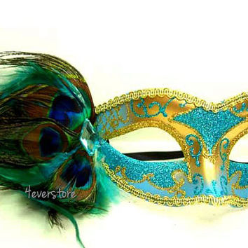 Fashionable Venetian Peacock Feather Mask - Gold and Teal Acrylic Glitter Work