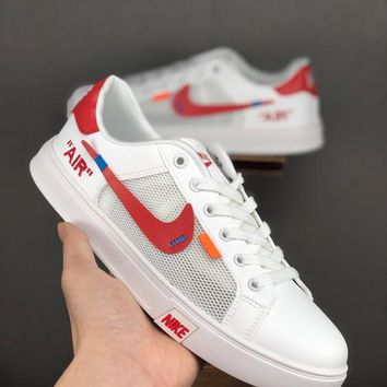 HCXX 19June 998 Nike Unisex Leather breathable mesh casual shoes perforated breathable tennis culture shoes white red