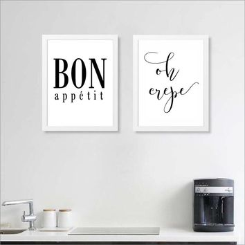 French Kitchen Art Decor Oh Crepe Poster Prints, Bon Appetit Print French Kitchen Wall Art Canvas Painting