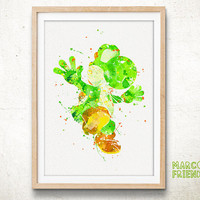 Dragon Yoshi, Super Mario - Watercolor, Art Print, Home Wall decor, Watercolor Print, Super Mario Poster