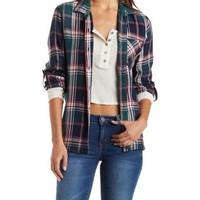 Green Combo Plaid Button Up Shirt by Charlotte Russe