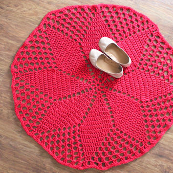 "42"" Red Pinwheel Doily Rug, Red Home Decor, Red Crochet Rug, Nursery Rug, Wedding Rug"